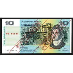 Commonwealth of Australia, Reserve Bank, ND (1974) Issue $10 Specimen Banknote.
