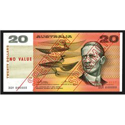 Commonwealth of Australia, Reserve Bank, ND (1974) Issue $20 Specimen Banknote.