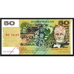 Commonwealth of Australia, Reserve Bank, ND (1974) Issue $50 Specimen Banknote.