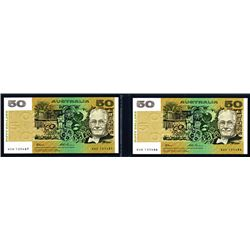 Australia, Reserve Bank, ND (1994) Sequential Banknote Pair.