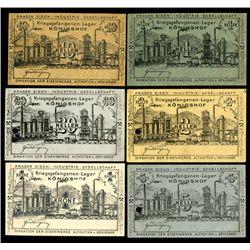 Austria P.O.W.  - Prager Eisen Industrie Geselschaft Konigshof, 1916 WWI, P.O.W. Scrip notes.