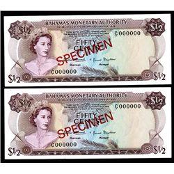 Bahamas Monetary Authority, 1968 Specimen Pair.