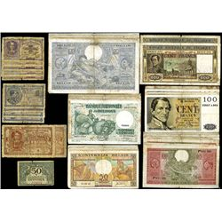 Belgian Banknote Assortment of 50 plus Banknotes from 1916- 1957.