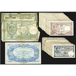 Belgian Banknote Assortment, Lot of 50 plus Banknotes from 1938-1945.