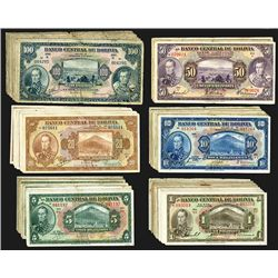 Bolivia Banknote Assortment of Mostly 1928 Issues.