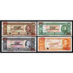 Banco Central De Bolivia, Law of 1945 & 1962 Second Issues, Specimen Group of 4 Different.
