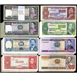 Bolivian Banknote Lot of 100+ Banknotes, ca. 1962-1986.