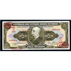 Republica Dos Estados Unidos Do Brazil, ND (1953-59) Specimen Banknote.