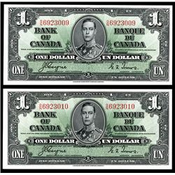 Bank of Canada, 1937 Uncirculated Sequential Banknote Pair