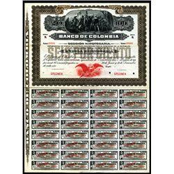 """Banco De Colombia, 1905 Specimen """"Seccion Hipotecaria"""" Circulating Bond."""