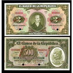 Banco De La Republica, 1955 & 1964 Specimen Banknote Pair.