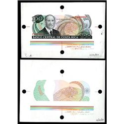 Banco Central De Costa Rica, 1987 Production Specimen Pair.