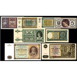 Republic Czechoslovakia & Slovenska Narodna Banka 1940-45 Banknote Assortment.