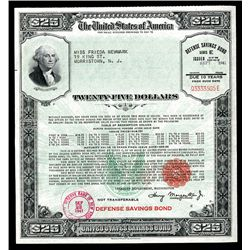 United States Defense Savings Bond $25.00: Schwan/ Boling # 221a Wide Frame.