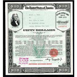 United States Defense Savings Bond $50.00: Schwan/ Boling # 222b Narrow Frame.