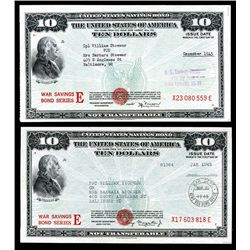 United States War Savings Bond $10.00 (2): Schwan Boling #'s 231a1 and 231b1.