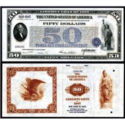 1st Liberty Loan Bond of 1917 $50 3 1/2 % Gold Bond.