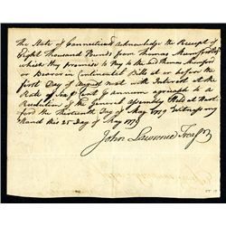 State of Connecticut 1779 Revolutionary War Receipt of funds loaned.