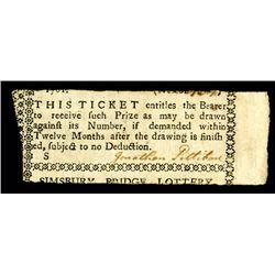 Simsbury Bridge Lottery Ticket, 1781.
