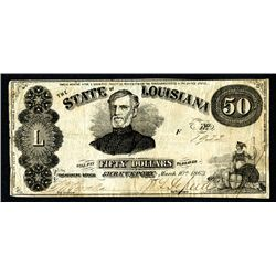 State of Louisiana, 1863 Issue Obsolete Banknote.