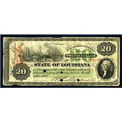 State of Louisiana, 1866 Issue Obsolete Banknote.