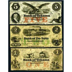 Nebraska Territory, (ca. 1857-1862) Obsolete Banknote Trio.