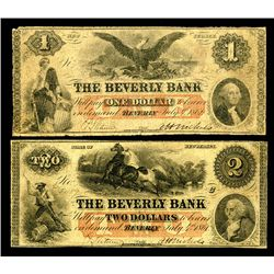 Beverly Bank, 1861 Obsolete Banknote.