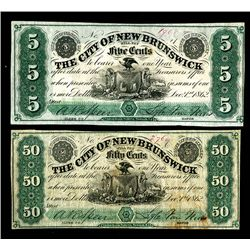 City of New Brunswick, 1862 Obsolete banknote Scrip Pair.