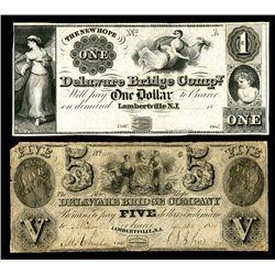 Delaware Bridge Co., 1840-50's Obsolete Banknote Pair.