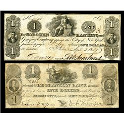 Hoboken Banking and Grazing Co. and Franklin Bank, 1827-29 Obsolete Banknote Pair.