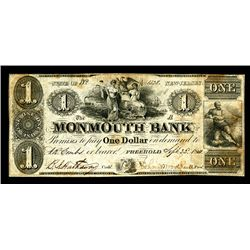 Monmouth Bank, 1844 Obsolete Banknote.