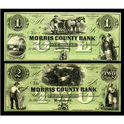 Morris County Bank, 18xx, ca.1857, Obsolete Banknote Pair.