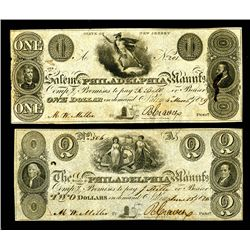 Salem & Philadelphia Manufacturing Co. 1828-29 Obsolete Banknote Pair.