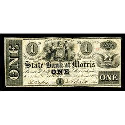State Bank at Morris, 18xx, ca.1857, Obsolete Banknote Pair.