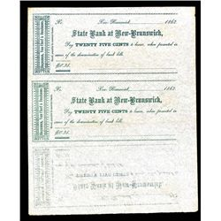 State Bank at New Brunswick - Hagaman, Van Cleef & Dunhams, ca. 1860's, Uncut Sheet of 3 Obsolete Sc