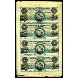 State Bank at New Brunswick, ca. 1850-60s Uncut Obsolete Banknote Sheet of 4 Notes.