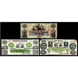 State Bank at New Brunswick, ca. 1850's Obsolete banknote Trio.