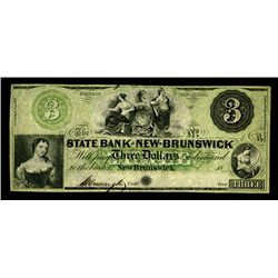 State Bank at New Brunswick, ca. 1857 Obsolete banknote.