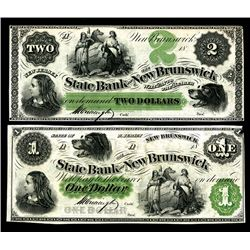 State Bank at New Brunswick, ca. 1857-60's Obsolete banknote Pair.
