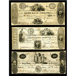 State Bank at Trenton, ca. 1822-25 Obsolete Banknote Trio.