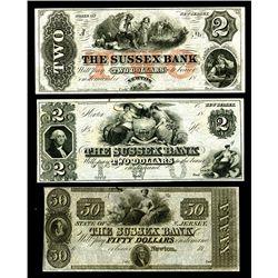 Sussex Bank, 18xx, ca.1830-50's, Obsolete Banknote Trio.
