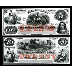Union Bank, 1859, Obsolete Banknote Pair.