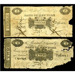 Bank of New York, ca, 1811-19, Obsolete Banknote Pair.