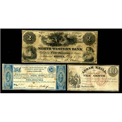 New York, New Jersey and Pennsylvania ca. 1837 to 1869 Scrip Note Trio.