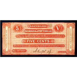 Borough of Pottsville, 1837 Issued Obsolete Currency.
