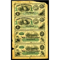State of South Carolina, 1872 Uncut Remainder Sheet of 4 Notes.
