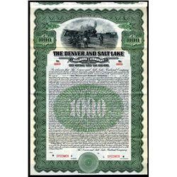 Denver and Salt Lake Railroad Co., 1913 Specimen Bond.