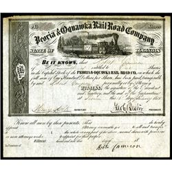 Peoria & Oquawka Rail Road Co., 1855 Issued Stock Certificate.