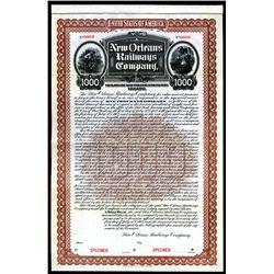 New Orleans Railways Co., 1902, $1000 Specimen Bond.