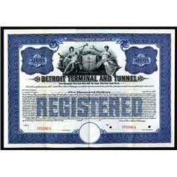 Detroit Terminal and Tunnel, 1911 Specimen Registered 4 1/2% Gold Bond.
